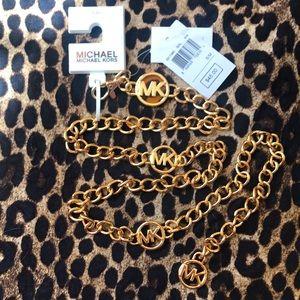 Brand New Michael Kors Gold Tone Logo Chain Belt